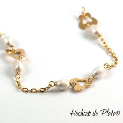 Pulsera de plata con baño de oro para comunion de Hechizo de Plata Joyería