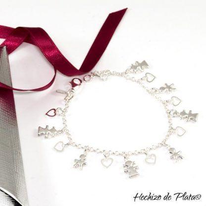 Pulsera de plata con colgantes de niños Hechizo de Plata Joyería