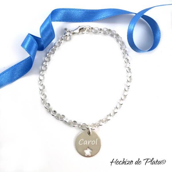 Pulsera de plata personalizada con medalla estrella de Hechizo de Plata Joyería