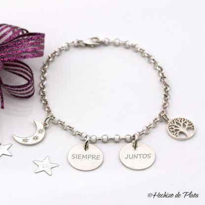 pulsera personalizada con luna de Hechizo de Plata joyería