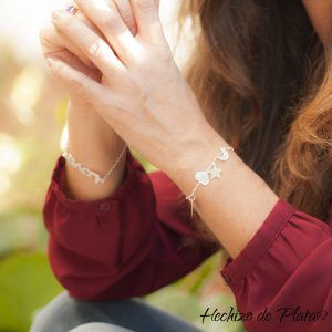 Pulsera de plata corazón , estrella y luna de Hechizo de Plata Joyería