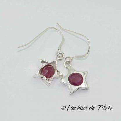 Pendientes estrella rubi de Hechizo de Plata Joyería