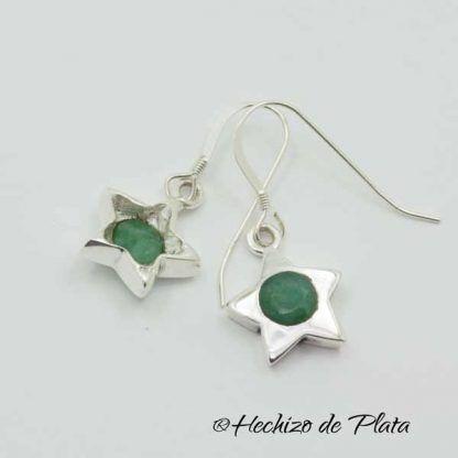 Pendientes estrella esmeralda de Hechizo de Plata Joyería