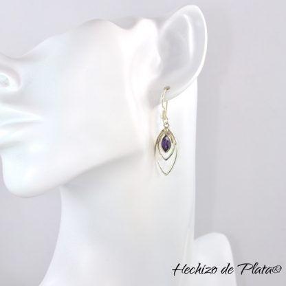 Pendientes de plata amatista modelo de Hechizo de Plata joyería