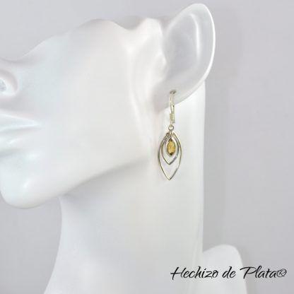 Pendientes de plata con citrino modelo de Hechizo de Plata joyería