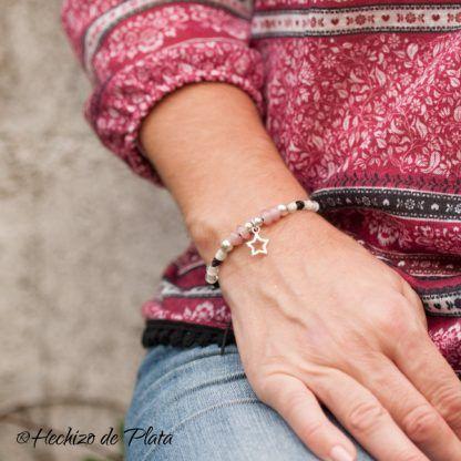 pulsera personalizada con estrella y cristales de Hechizo de Plata joyería