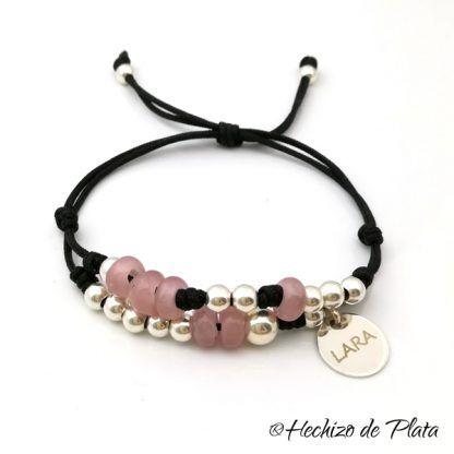 Pulsera personalizada con cristales rosados de Hechizo de Plata Joyería