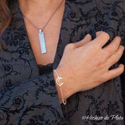 Pulsera de plata luna personalizada de Hechizo de Plata joyería