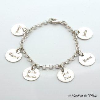 Pulsera personalizada con nombres para grabar de Hechizo de plata joyería