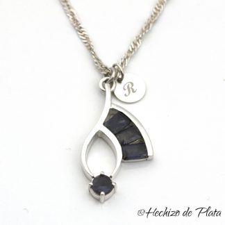 colgante con gema iolita personalizado de Hechizo de Plata Joyería