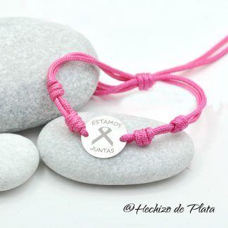 Pulsera personalizada lazo rosa de Hechizo de Plata joyería