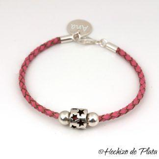 pulsera personalizada estrellas cuero rosa de Hechizo de Plata joyería