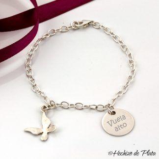 pulsera personalizada mariposa de Hechizo de Plata joyería