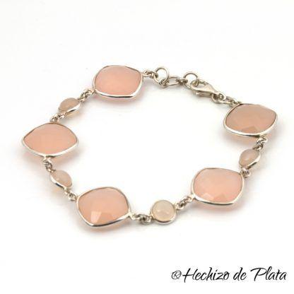 pulsera de cuarzo rosa y plata de Hechizo de Plata Joyería