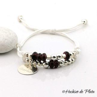 Pulsera personalizada en cordón con cristales marrones de Hechizo de Plata joyería