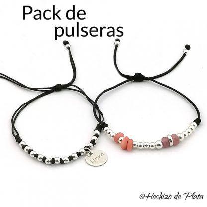 pack de pulseras con cuentas de Hechizo de Plata joyeria
